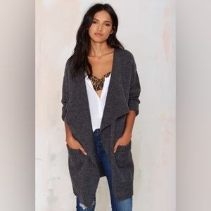 Drape Chunky Knit Sleeves Cardigan